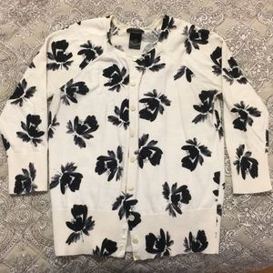 Ann Taylor Crop Sleeve Floral Sweater Sz XS